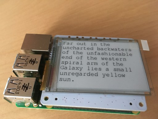 A picture of the PaPiRus ePaper eInk Screen HAT on my Raspberry Pi