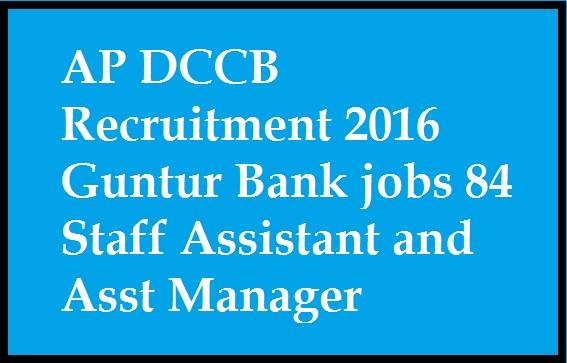 AP DCCB Recruitment 2016 Guntur Bank jobs 84 Staff Assistant and Asst Manager