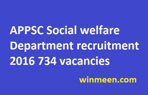 APPSC Social welfare Department recruitment various 734 vacancies download teacher grade III application form 2016