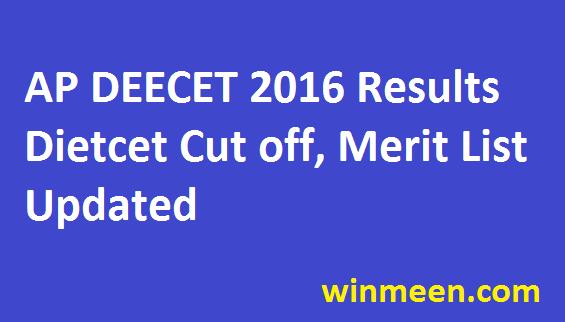 AP DEECET 2016 Results Dietcet Cut off, Merit List Updated