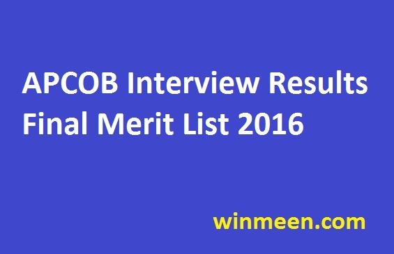 APCOB Interview Results Final Merit List 2016