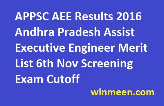 APPSC AEE Results 2016 Andhra Pradesh Assist Executive Engineer Merit List 6th Nov Screening Exam Cutoff