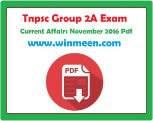 Tnpsc Current Affairs In Tamil November 2016