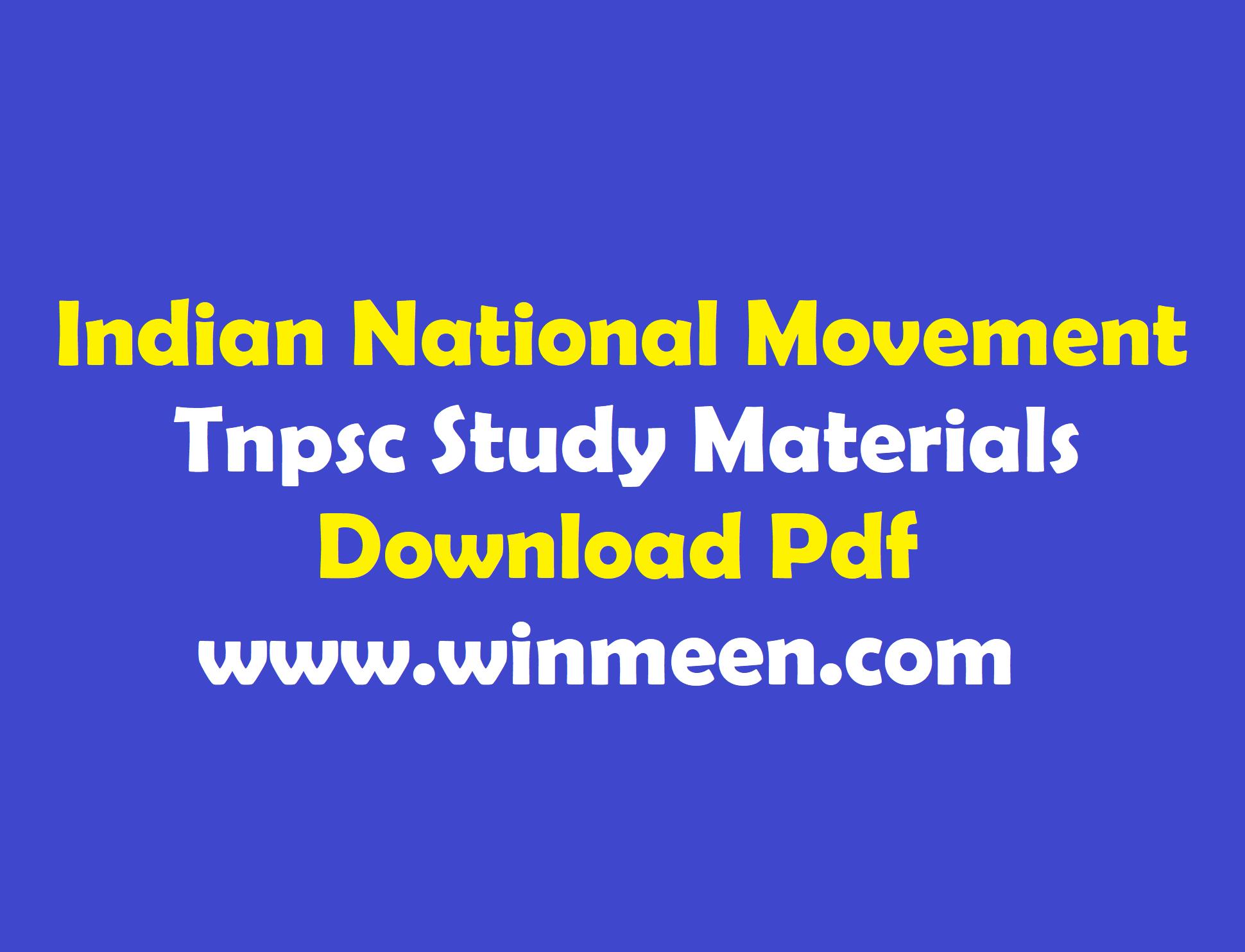 Indian National Movement Mcq Pdf