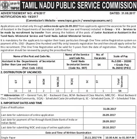 Tnpsc Assistant Recruitment 2017 54 Assistant Jobs in Secretariat Department