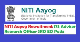 NITI Aayog Recruitment 2017 Apply 173 Adviser Research Officer SRO EO Posts