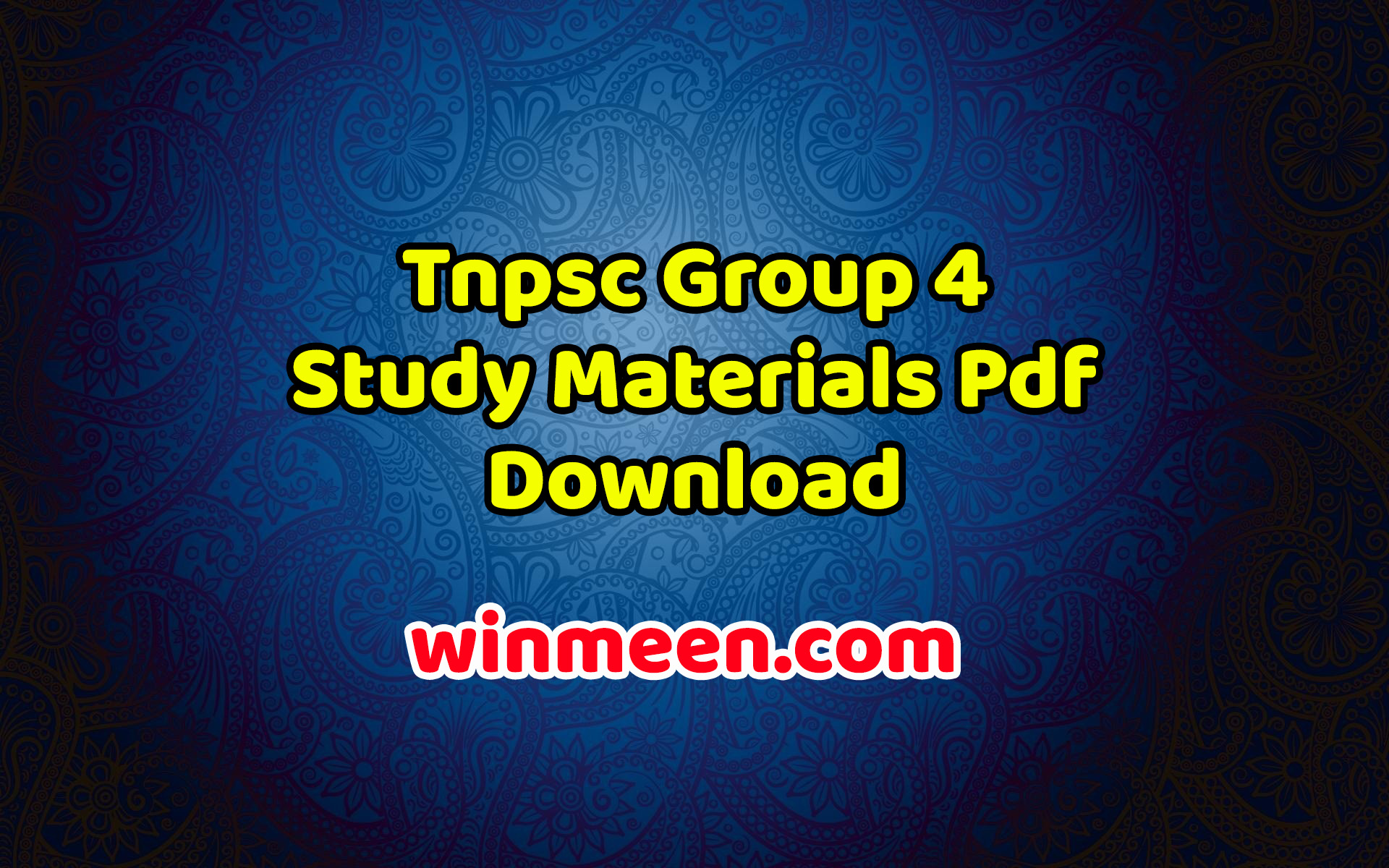 Tnpsc Group 4 Study Materials Pdf Download - WINMEEN