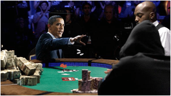 Barack Obama At Poker Table