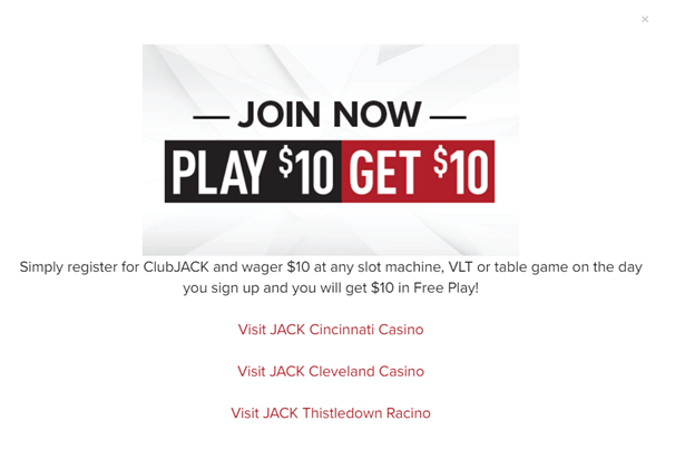 Play $10 and get $10 at Jack Casinos