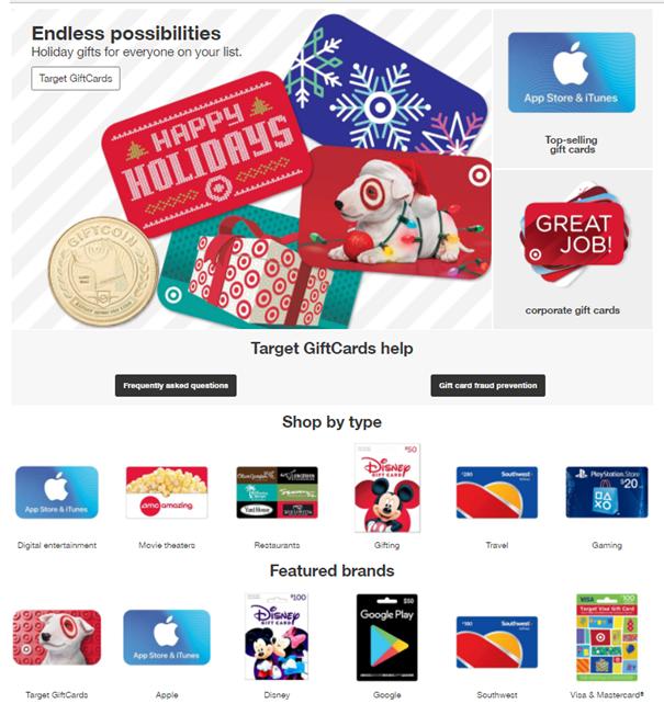 Target Gift cards on offer