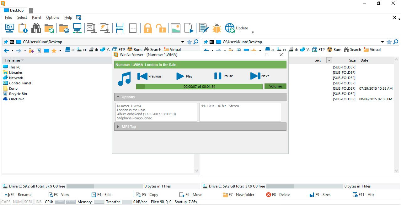 WinNc play mp3 wma and audio files
