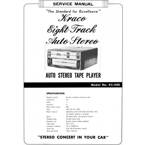 Kraco Eight Track Auto Stereo service manual KS-400