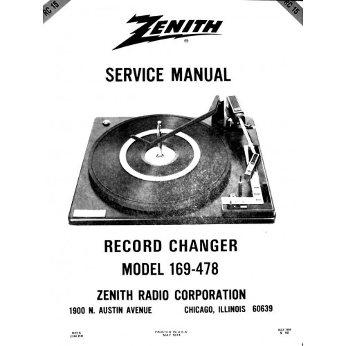 BSR Zenith record changers service manual RC15 169-478
