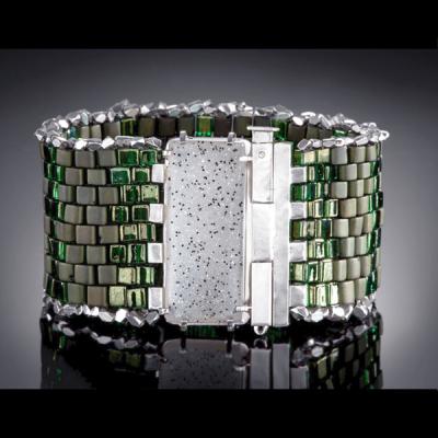 Olive Green Dalmatian Druzy Bracelet