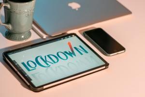 Lockdown words on tablet screen
