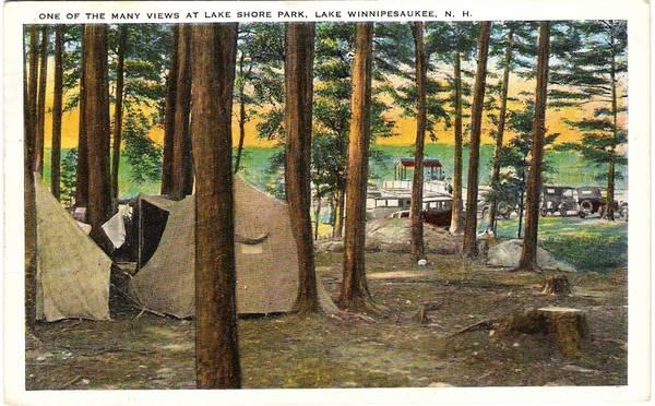 Camping at Lake Shore Park, Lake Winnipesaukee, NH.