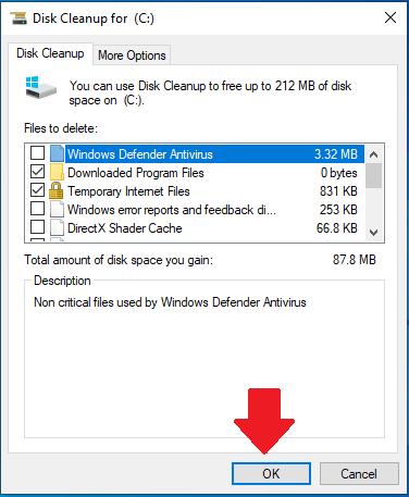 Очистка диска для диска C в Windows 10