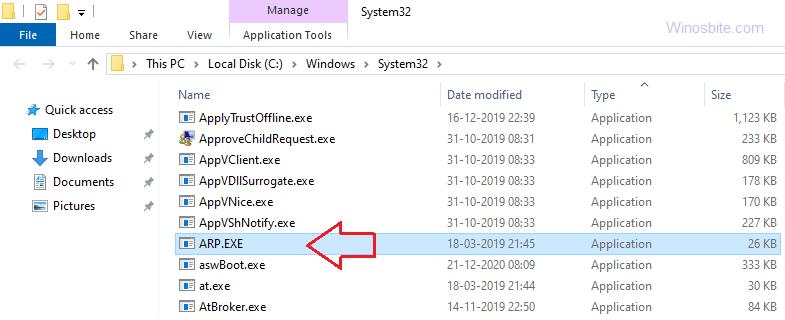 расположение файла arp.exe