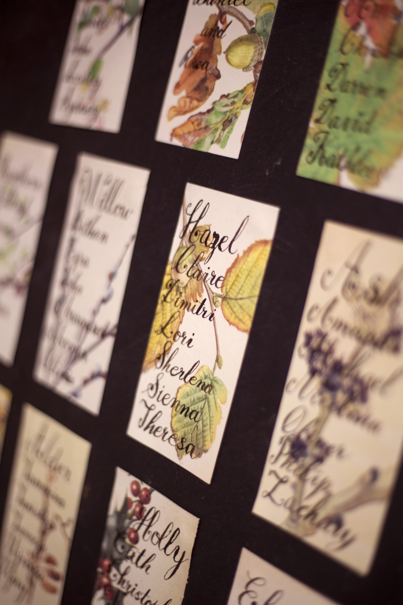 Handmade table seating plan calligraphy on pages of a floral book woodland wedding photographer