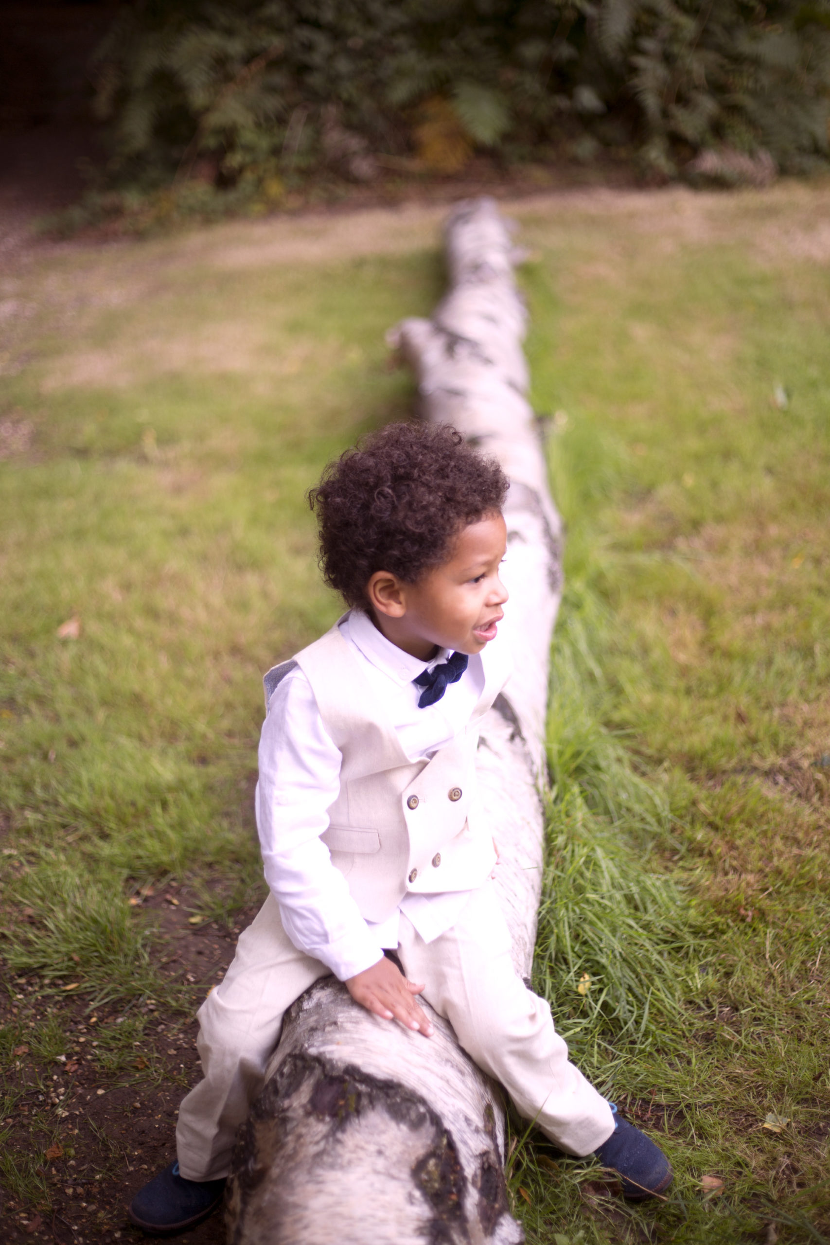 Little boy in bow tie sits on log at woodland wedding photographer