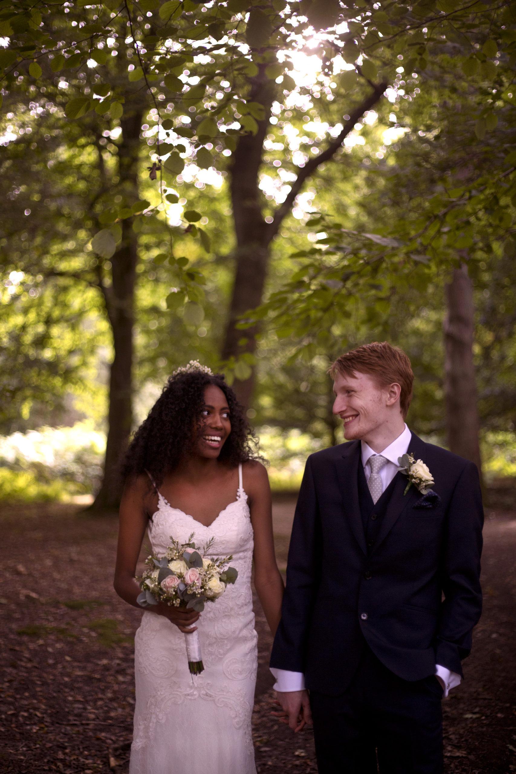 Portrait shoot bride and groom outdoor woodland wedding photographer