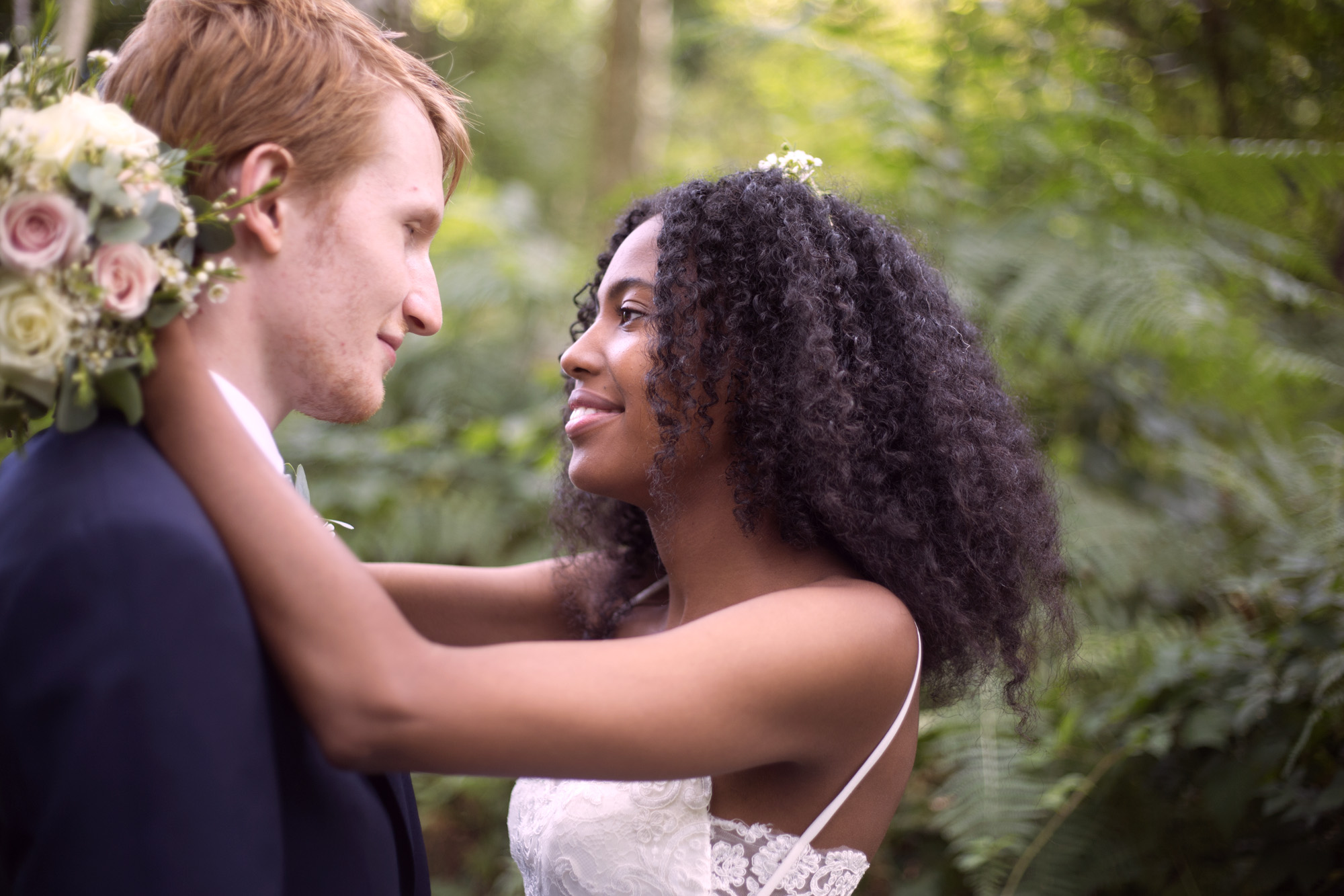 Slow dance bride and groom Cuffley camp outdoor woodland wedding photographer