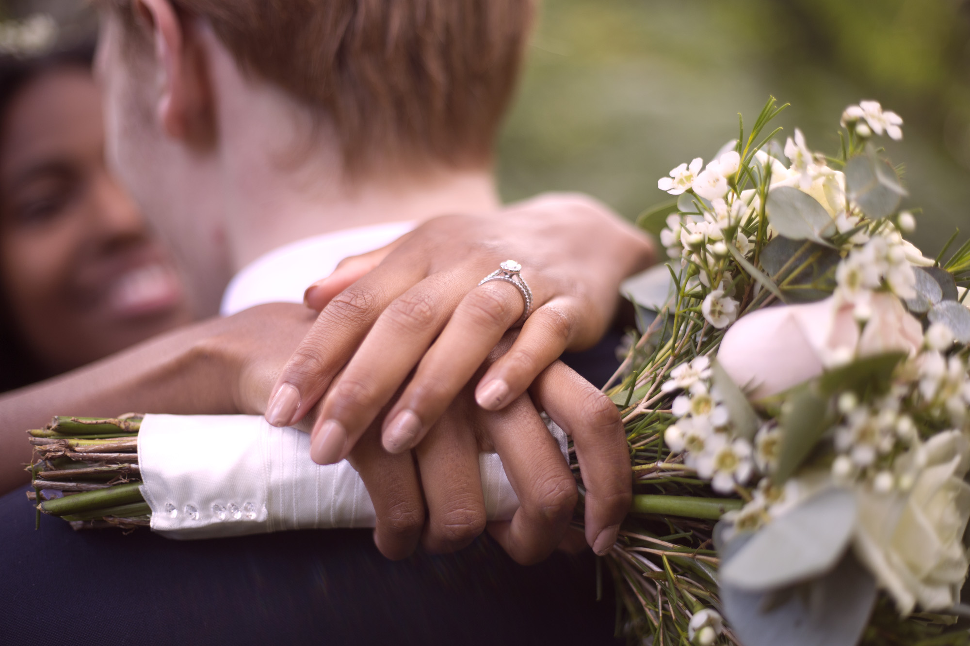 Engagement ring bouquet detail outdoor woodland wedding photographer