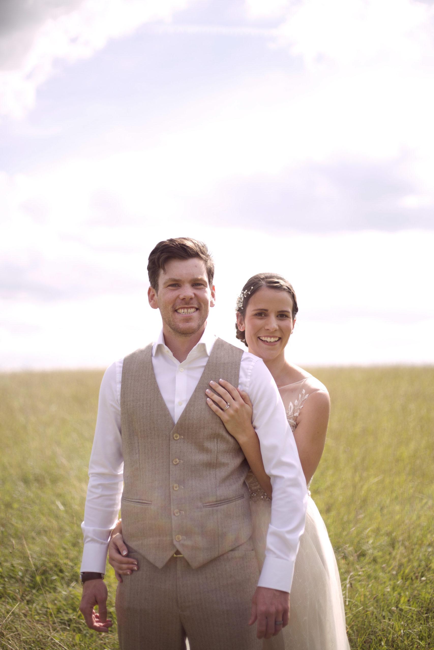 Smiling bride and groom couple photos at Cripps barn wedding photographer