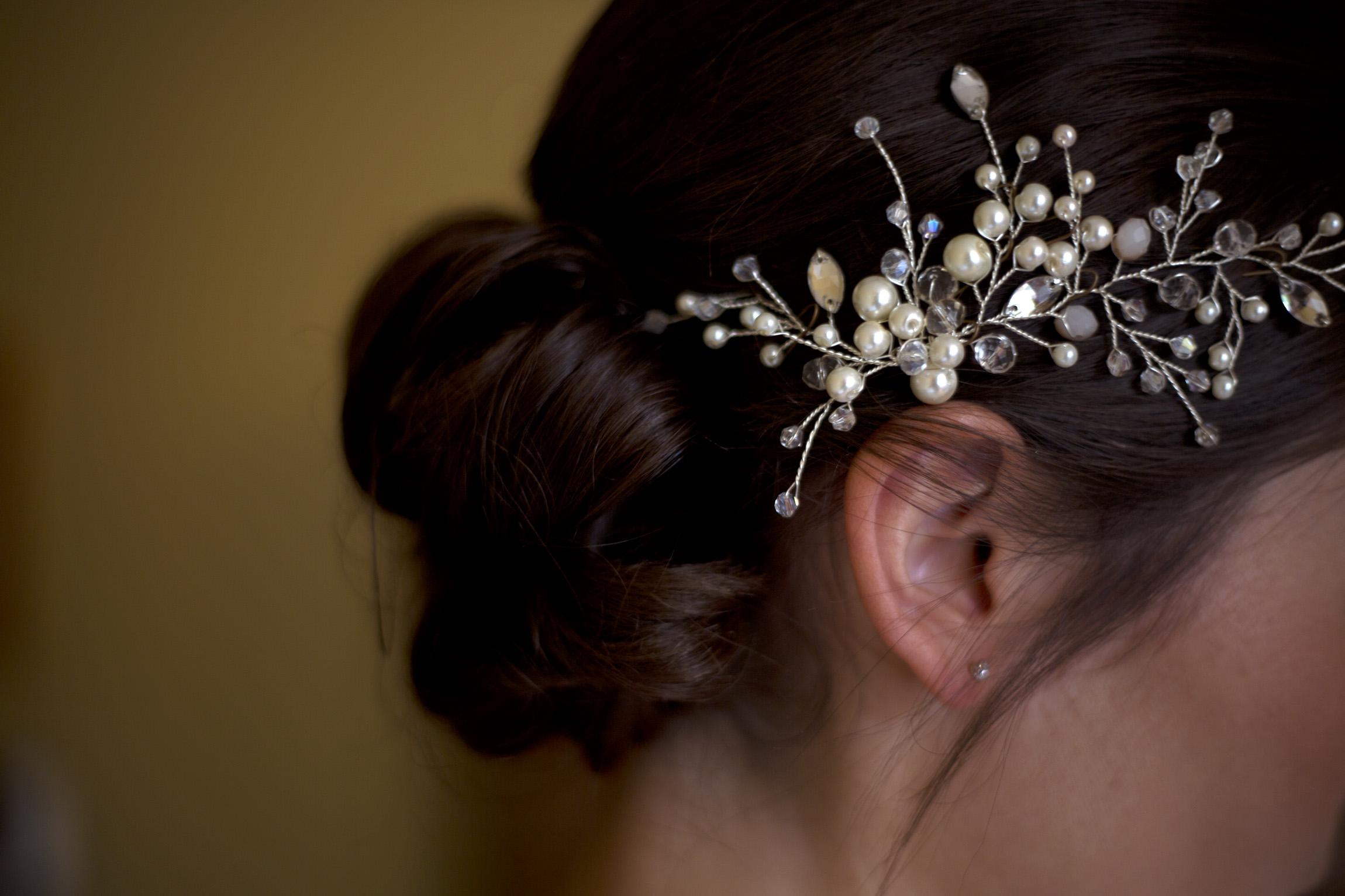 Bridal hair up-do Cripps barn outdoor wedding photographer