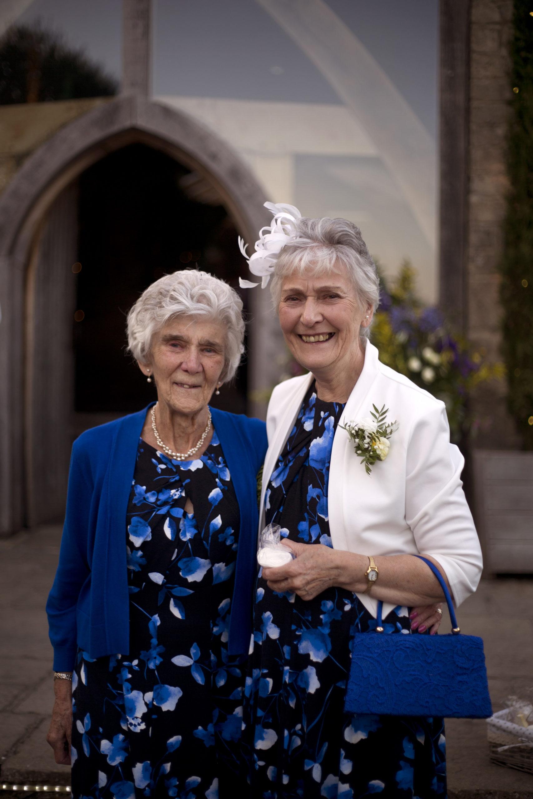 Grandmas at wedding wear the same dress portrait Cripps barn outdoor wedding photographer