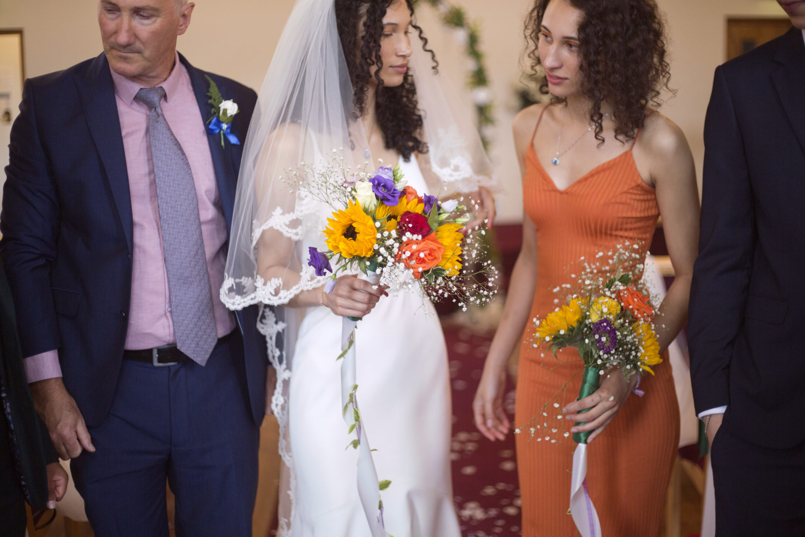 bride and her bridesmaid with homemade rustic bouquet micro wedding bristol photographer