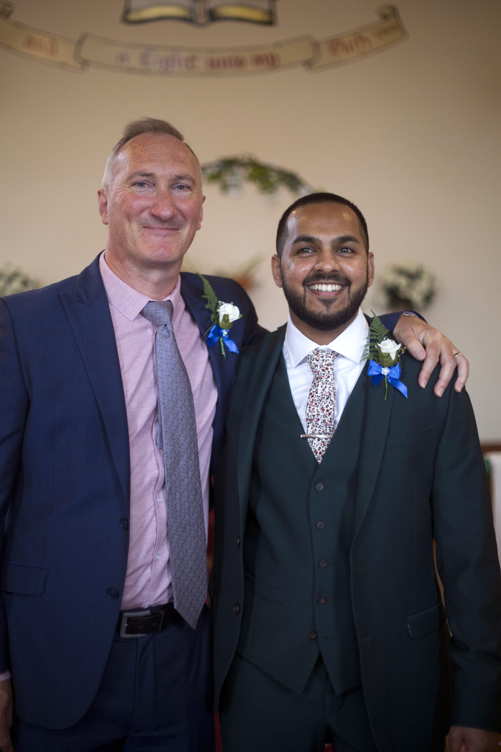 Groom and Father of the bride portrait micro wedding photographer Bristol