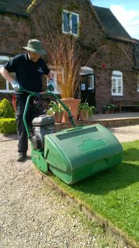 Cylinder mower, mowing, Winterbourne House and Garden, Digging for Dirt