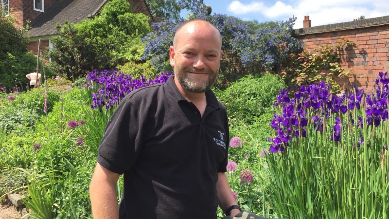 Paul in the Pink and Blue Border, Career changer, Winterbourne House and Garden, Digging for Dirt