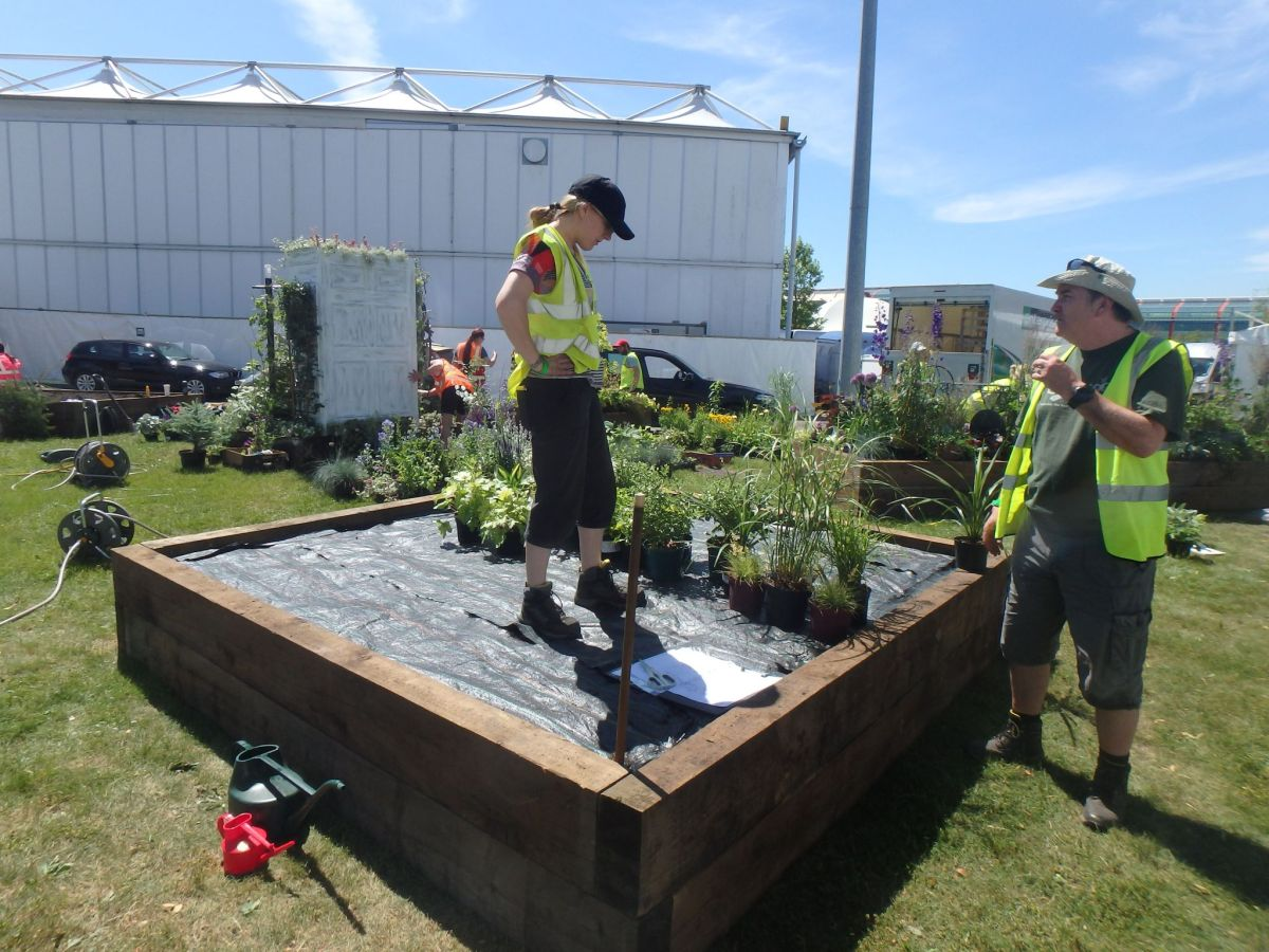 Work begins creating 'Our Space in Space' at Gardeners' World Live, Cath Fletcher, Winterbourne House and Garden, Digging for Dirt