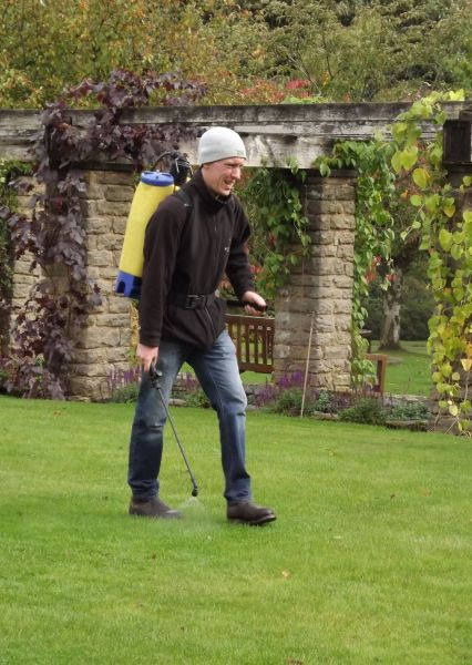 Andy spraying chafer grub nematodes on the Lower Lawn, The Week That Was, Winterbourne House and Garden, Digging for Dirt