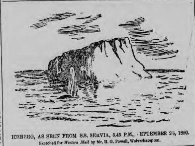 Sketch of the iceberg sighted from S.S. Servia ©British Library Board. All Rights Reserved, News from the Archives, Digging for Dirt, Winterbourne House and Garden