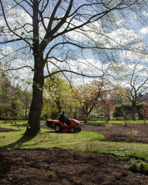 Mowing beneath the tulip tree on the Arboretum Lawn, photograph by Maggie Bucknall, The Week That Was, Digging for Dirt, Winterbourne House and Garden