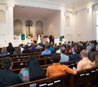 Large ceremony at the First Congregational Church of Winter Park