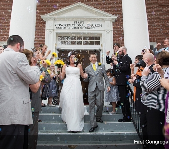 Bubbles! Just married at the First Congregational Church