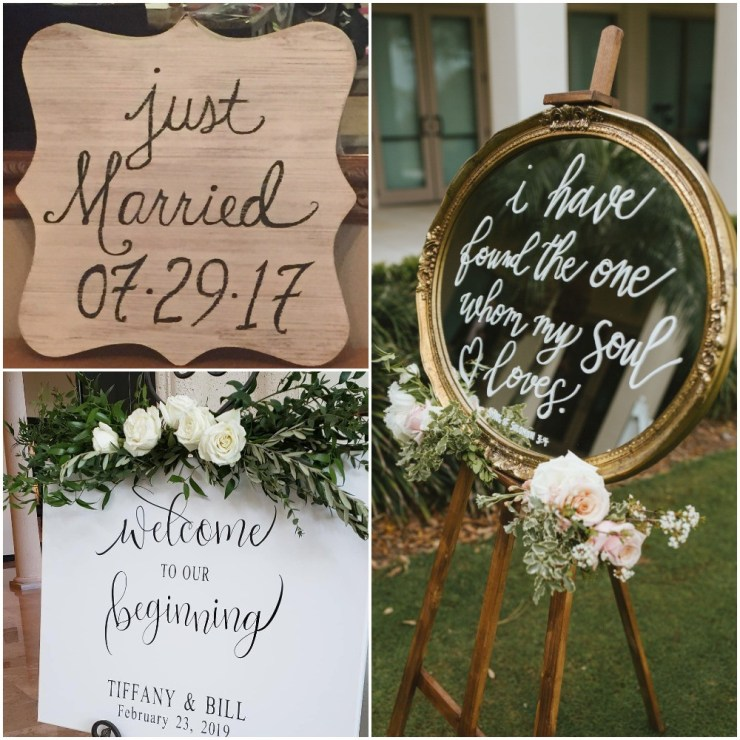 Three signs, one engraved wood sign. A printed sign and a painted antique mirror sign.
