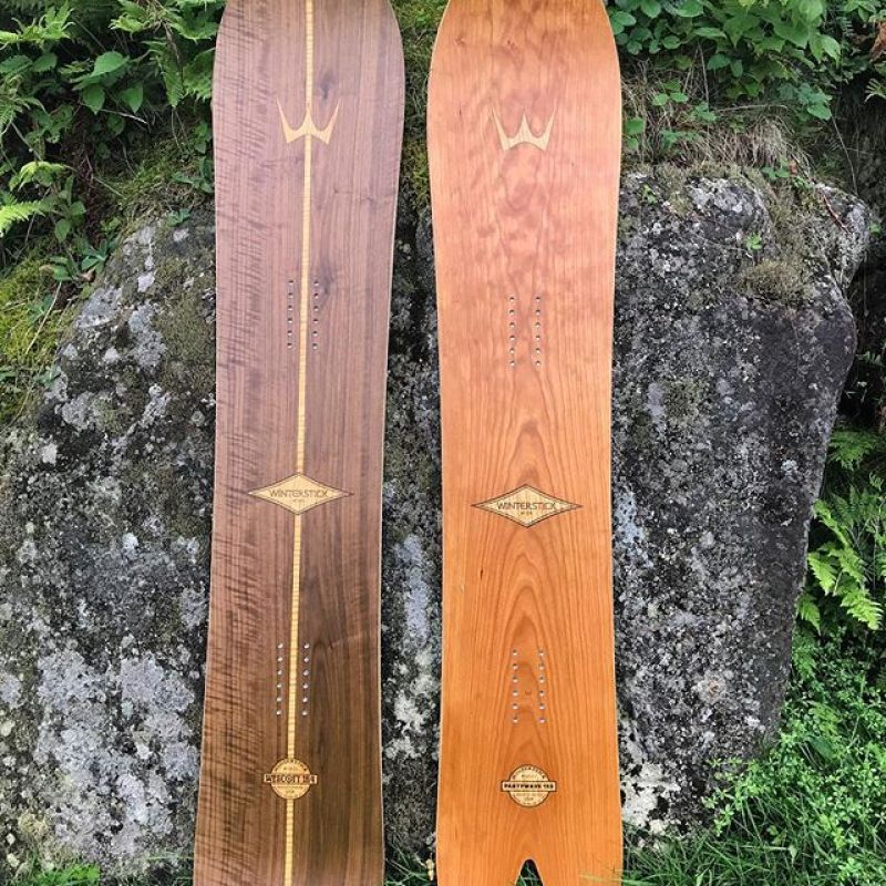 Check out these beauties! Fresh off the press at our factory in Sugarloaf, Maine, the crew has been working hard this summer constantly improving our processes and building some of the most beautiful snowboards on the planet. This walnut SWP 164, and (new this year) cherry PartyWave 153 are available now. Snap one up by ordering through our website so you are ready to go when the snow falls! #winterstick #snowboards #madeinusa ️ www.winterstick.com