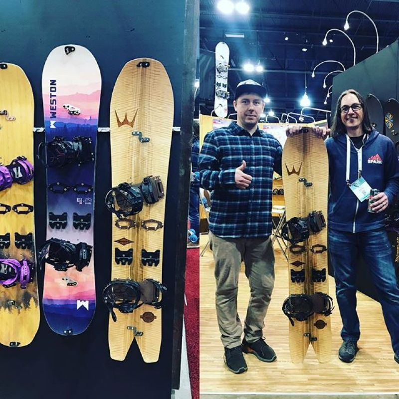 Hanging out and on the wall in the @sparkrandd booth at @outdoorretailer @siasnowsports .Love checking out all the new gear from @bernunlimited @nideckersnowboards and manny many more.#snowboarding #artoftheturn