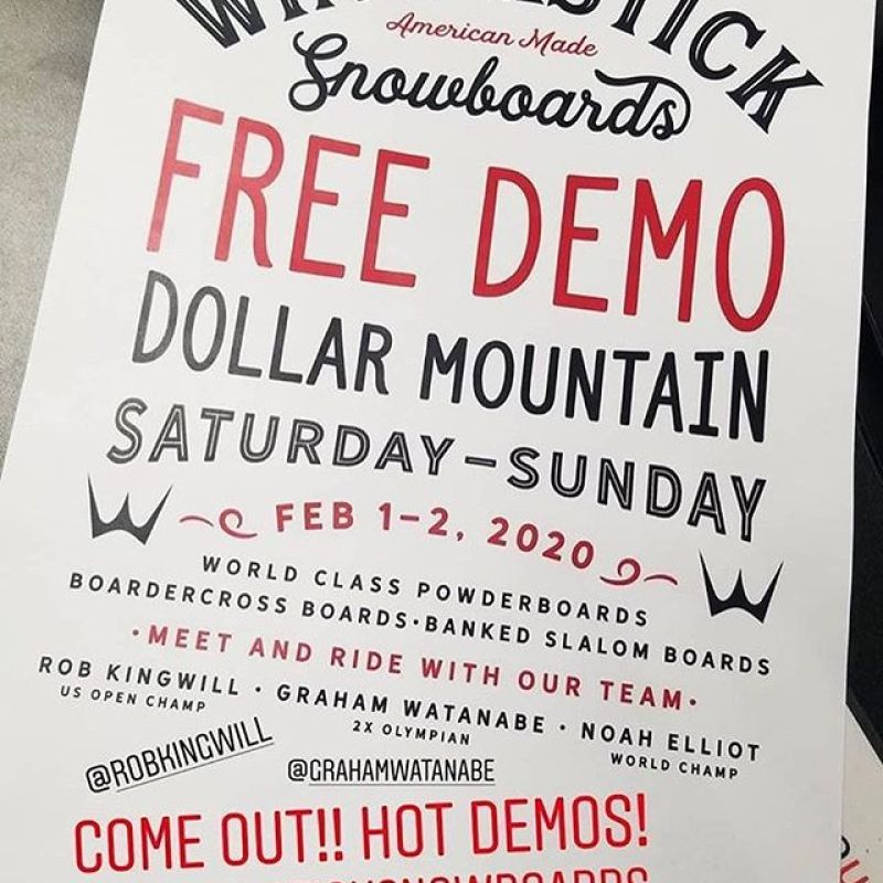 Free Demos anyone?!?We'll be hanging out @bmwusasa event @sunvalley Dollar mountain THIS Saturday and Sunday. Join @robkingwill @elliott_sendy and @grahamwatanabe in our tent 9-3 and test drive a @wintersticksnowboards !. .@boardbin @waxroom @sethwescott #customsnowboards #sbx #artoftheturn #mountainmade