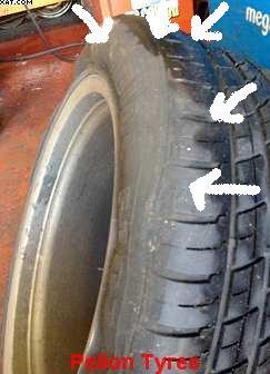 Slashed tyres