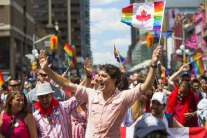 Federal Liberal Party leader and Canadian Prime Minister Justin Trudeau leads Pride Parade in Toronto on July 3, 2016. PHOTO: Mark Blinch/CP