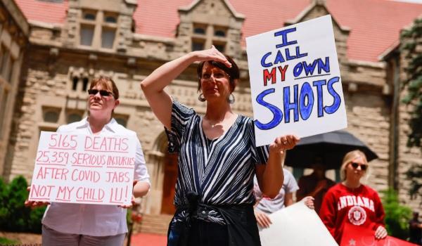 Covid vax jabs protest 2021