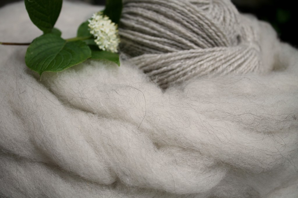 shimmering silver pin drafted roving