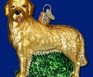 Golden Retriever Old World Glass Ornament