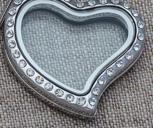 Forever in My Heart CZ Rhinestone Locket Necklace--Large Heart
